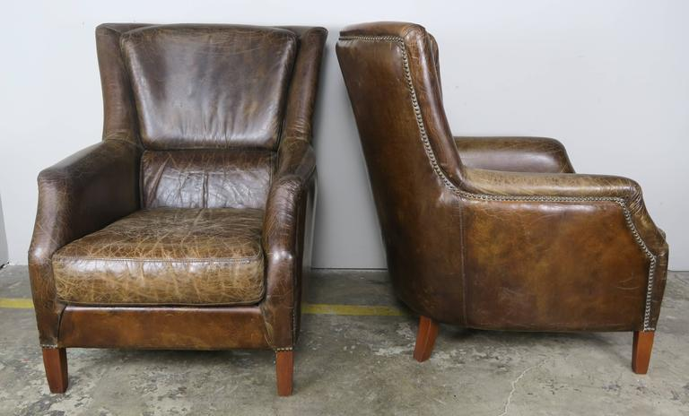 French Pair of Tobacco Colored Leather Armchairs For Sale
