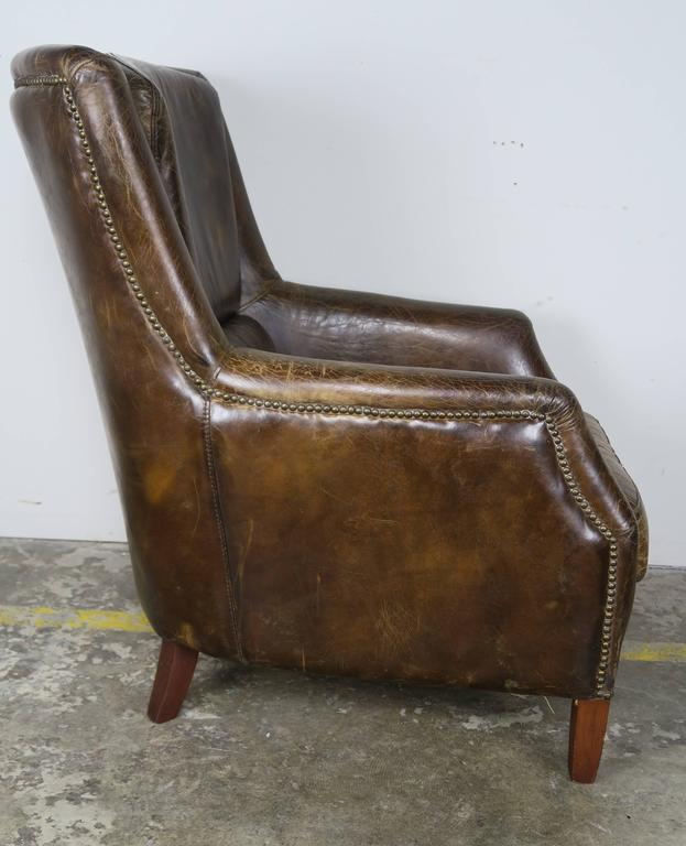 Pair of Tobacco Colored Leather Armchairs 6