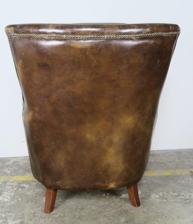 Pair of Tobacco Colored Leather Armchairs 7