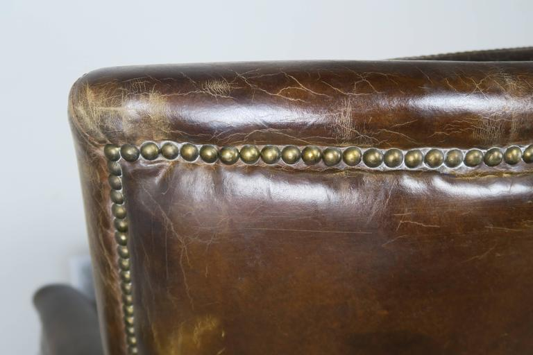 Pair of Tobacco Colored Leather Armchairs 8