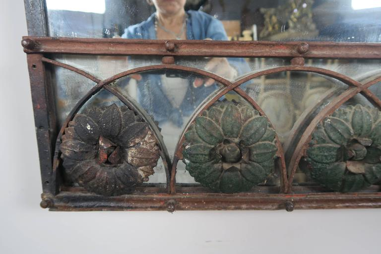 Beveled 19th Century Painted French Wrought Iron Mirror with Urn For Sale