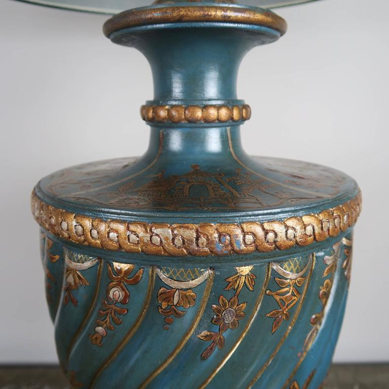 Hand-Painted Teal and Gold Chinoiserie Painted Colored Lamps, Pair For Sale