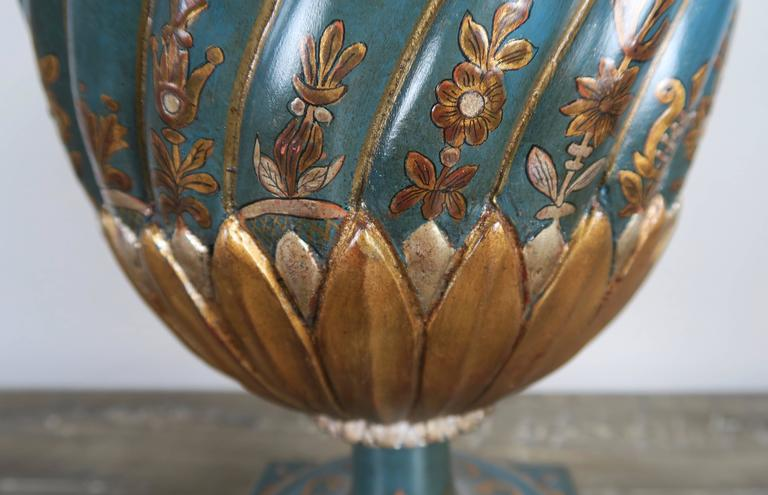 20th Century Teal and Gold Chinoiserie Painted Colored Lamps, Pair For Sale