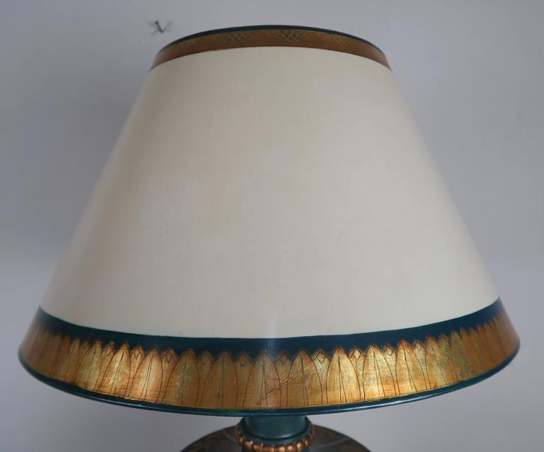 Wood Teal and Gold Chinoiserie Painted Colored Lamps, Pair For Sale