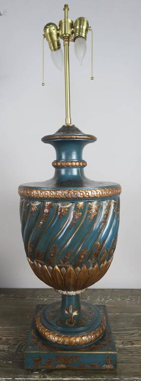 Teal and Gold Chinoiserie Painted Colored Lamps, Pair For Sale 1