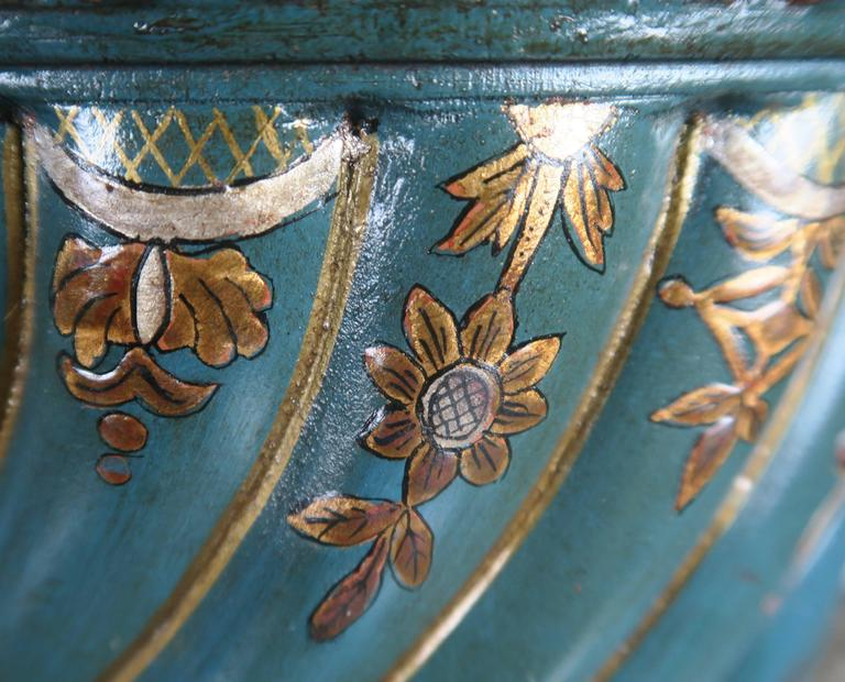 Teal and Gold Chinoiserie Painted Colored Lamps, Pair For Sale 2