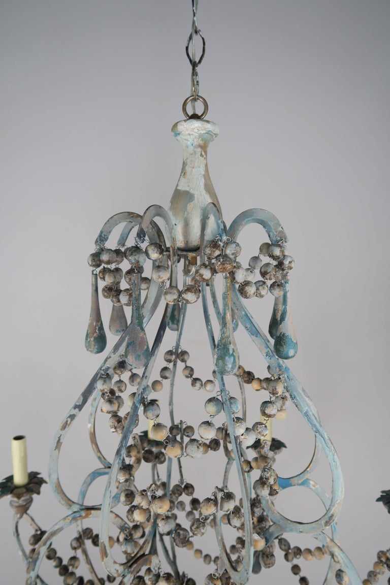 Pair of Eight-Light Wood Beaded and Metal Painted Chandeliers 5