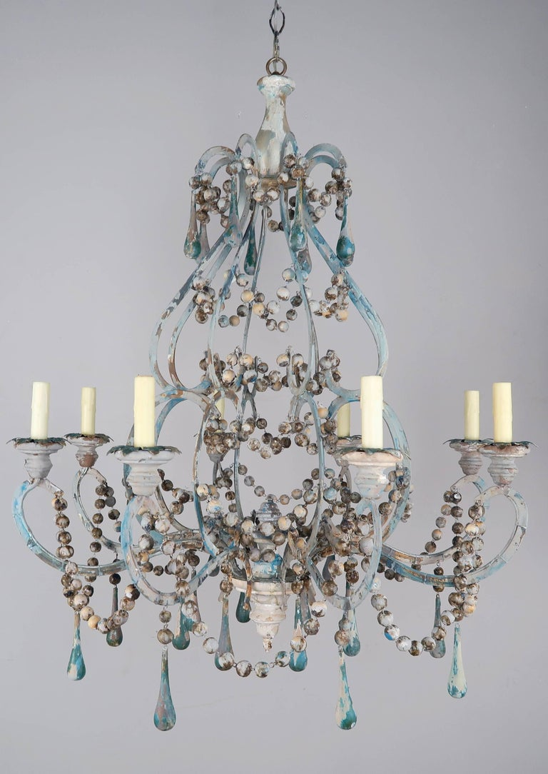 Pair of Eight-Light Wood Beaded and Metal Painted Chandeliers 2