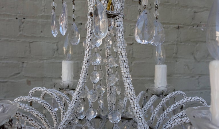 French Four-Light Crystal Chandelier with Strung Beading For Sale