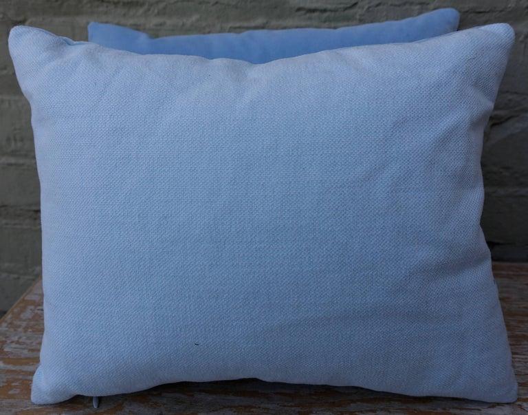 American Sky Blue Silk Velvet Pillows Delicate Lace Applique, Pair For Sale