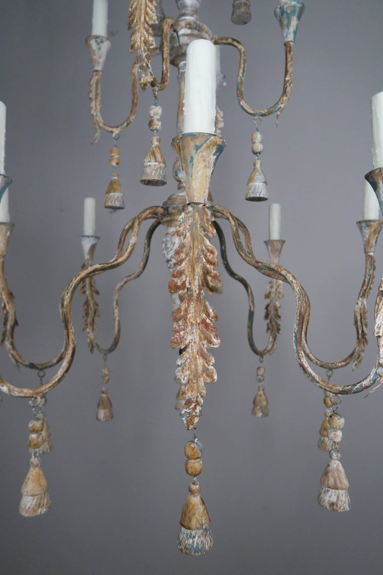 Rustic Pair of Italian Wood Beaded Painted Chandeliers For Sale