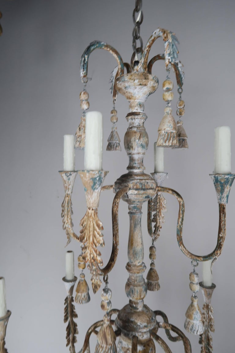 Pair of Italian Wood Beaded Painted Chandeliers In Distressed Condition For Sale In Los Angeles, CA