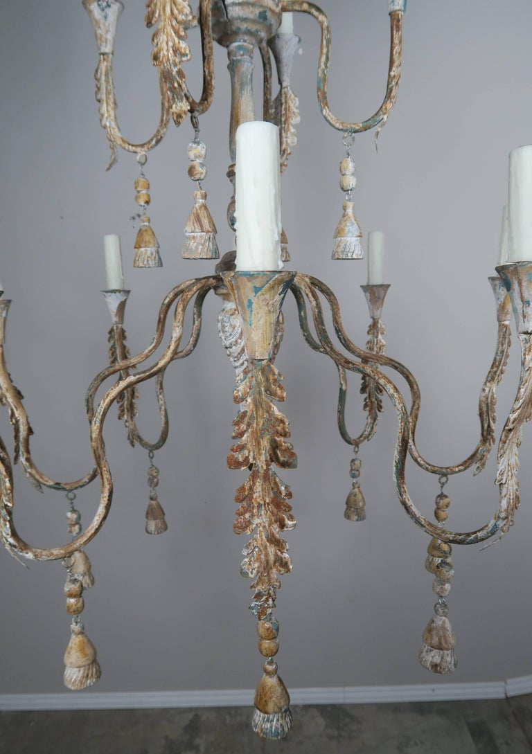 20th Century Pair of Italian Wood Beaded Painted Chandeliers For Sale