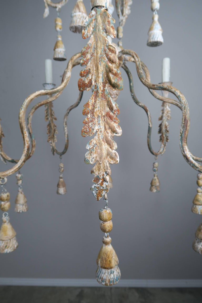 Iron Pair of Italian Wood Beaded Painted Chandeliers For Sale