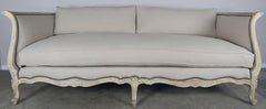 19th Century French Natural Carved Wood Sofa with Linen Upholstery