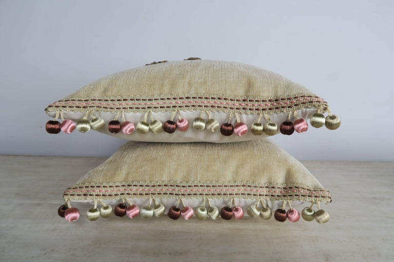 French Custom Pair of Pillows For Sale