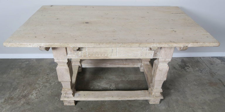 Baroque Pair of Italian Walnut Tables with Center Drawers For Sale