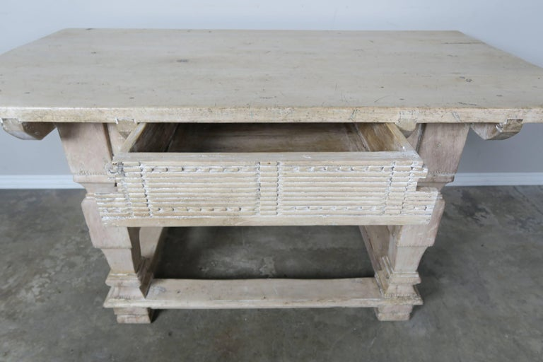 Bleached Pair of Italian Walnut Tables with Center Drawers For Sale