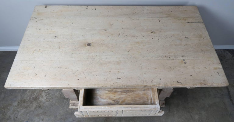 Early 20th Century Pair of Italian Walnut Tables with Center Drawers For Sale