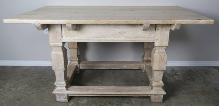 Pair of Italian Walnut Tables with Center Drawers For Sale 1