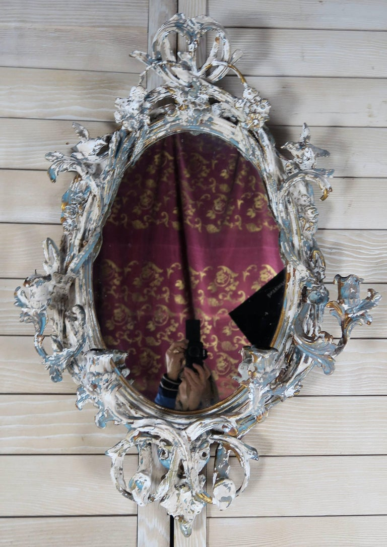 19th Century French painted mirror birds,  tulip candle holders, branches, and acanthus leaves throughout.