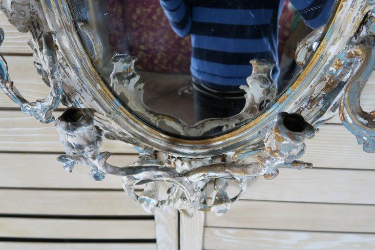 Metal 19th Century French Painted Mirror with Candle Holders For Sale