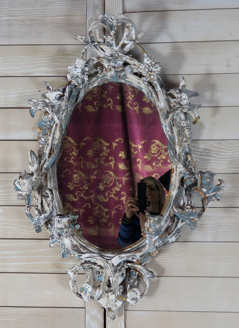 19th Century French Painted Mirror with Candle Holders For Sale 5