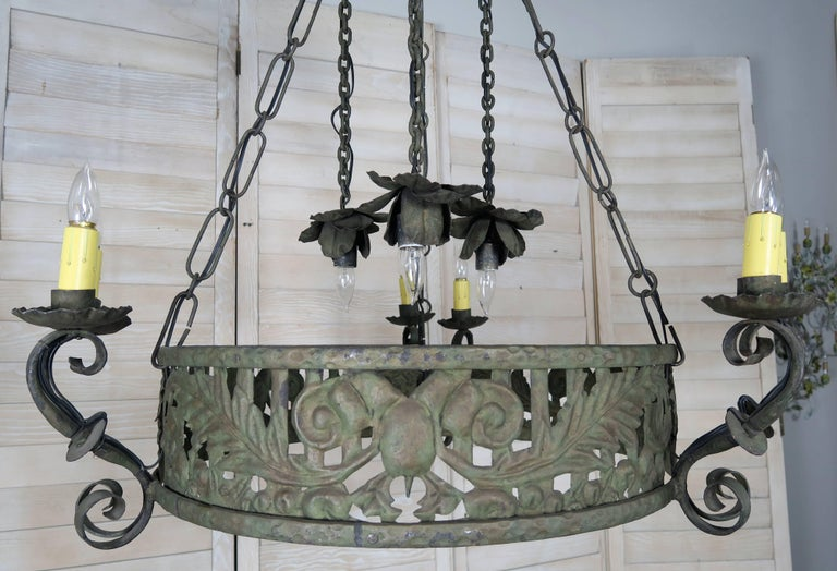 19th century spanish wrought iron chandelier for sale at 1stdibs baroque 19th century spanish wrought iron chandelier for sale aloadofball Gallery