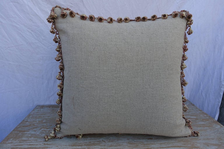 French Metallic & Chenille Floral Appliqued Linen Pillows, a Pair For Sale