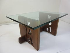 New Hope School Walnut and Glass Coffee Table by P. Wexter 1978