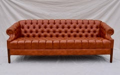 Swedish Leather Chesterfield Sofa