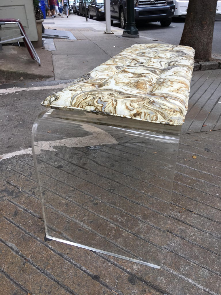 American Lucite Bench or Coffee Table in the Style of Charles Hollis Jones For Sale