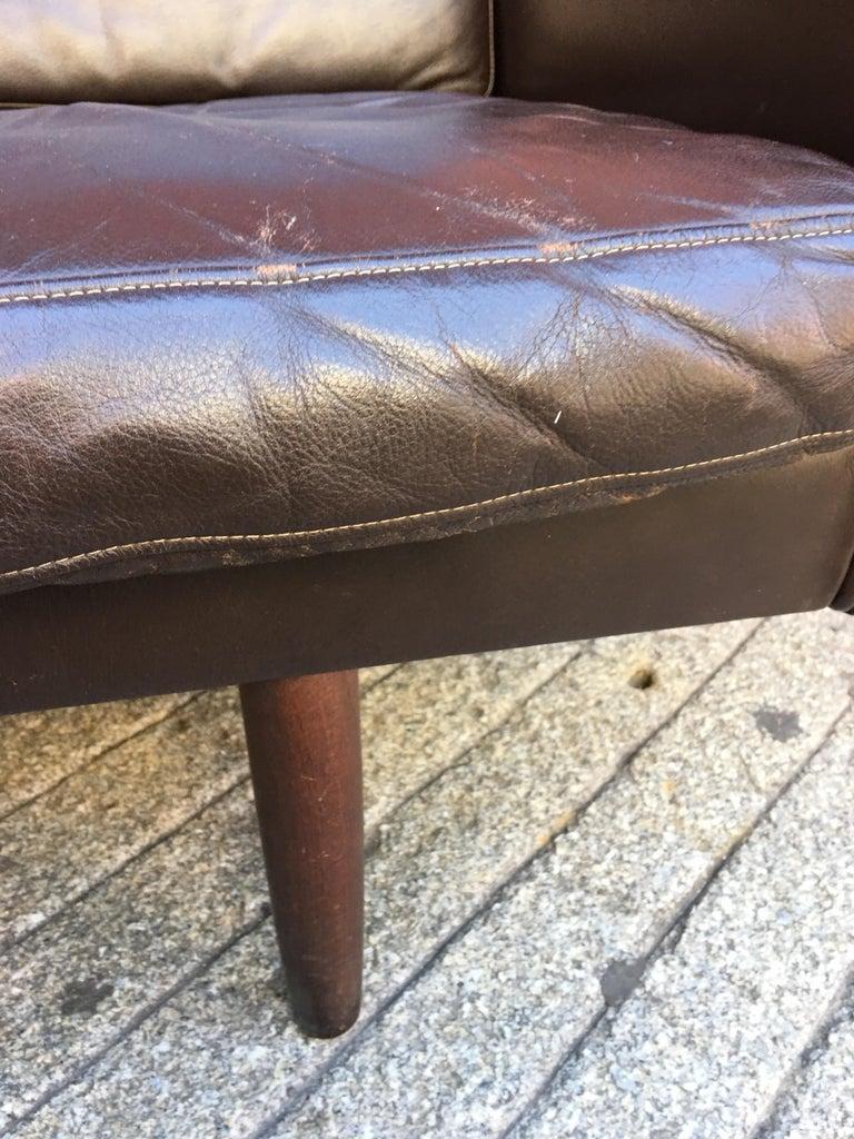 Georg Thams for Vejen Polstermobelfabrik Danish Leather Sofa In Good Condition For Sale In Philadelphia, PA