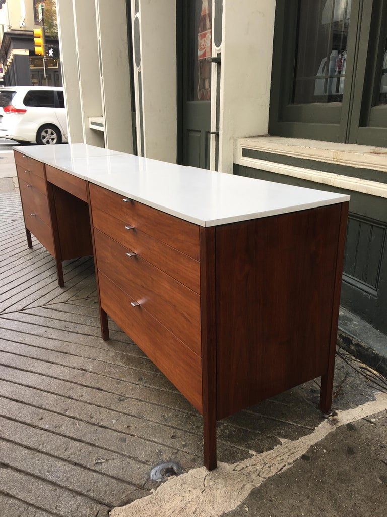 Mid-Century Modern Florence Knoll for Knoll Dresser and Desk/Vanity in Walnut For Sale