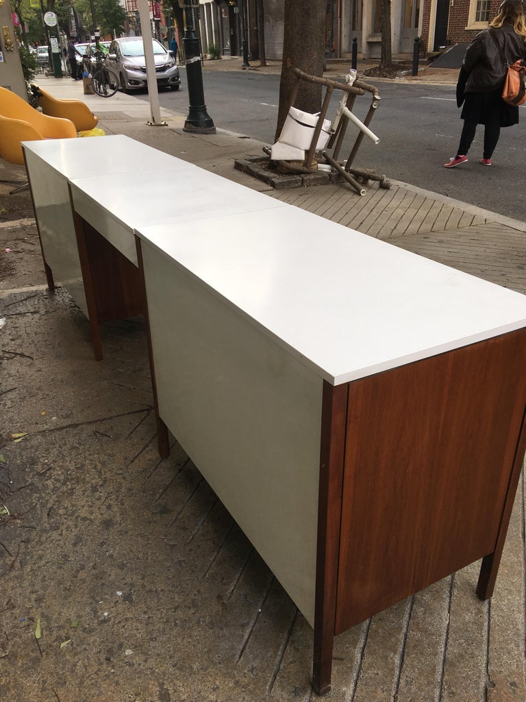 Mid-20th Century Florence Knoll for Knoll Dresser and Desk/Vanity in Walnut For Sale