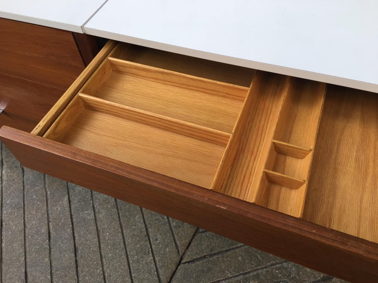 Chrome Florence Knoll for Knoll Dresser and Desk/Vanity in Walnut For Sale