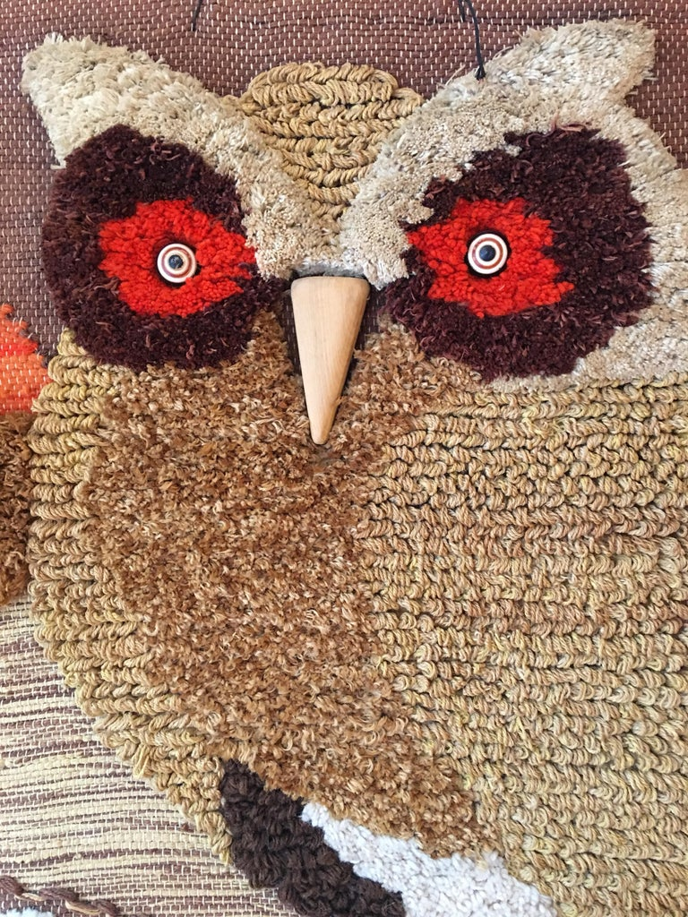 Mid-Century Modern Don Freedman Woven Owl Tapestry For Sale