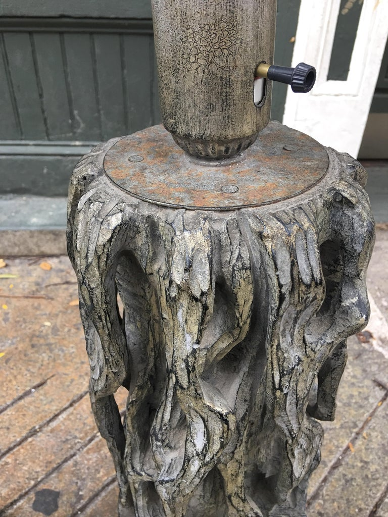 American James Mont Monumental Carved Tree Trunk Lamps For Sale