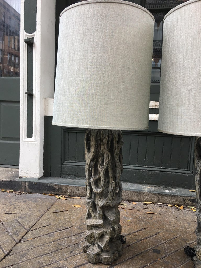James Mont Monumental Carved Tree Trunk Lamps For Sale 2