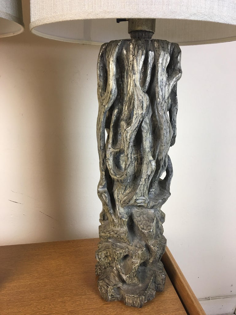 James Mont Monumental Carved Tree Trunk Lamps For Sale 5