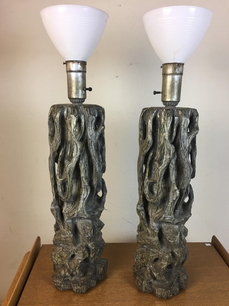 James Mont Monumental Carved Tree Trunk Lamps For Sale 8