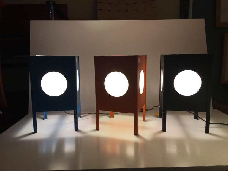 Metal Cube Lamps with Velum Covered Portholes For Sale 2