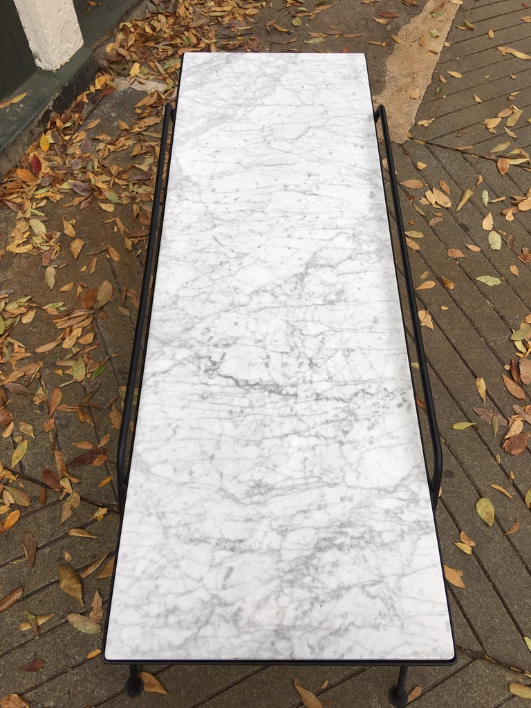 Mid-20th Century Arthur Umanoff Marble and Iron Coffee Table For Sale