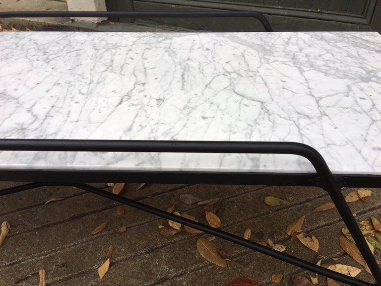 Arthur Umanoff Marble and Iron Coffee Table For Sale 1