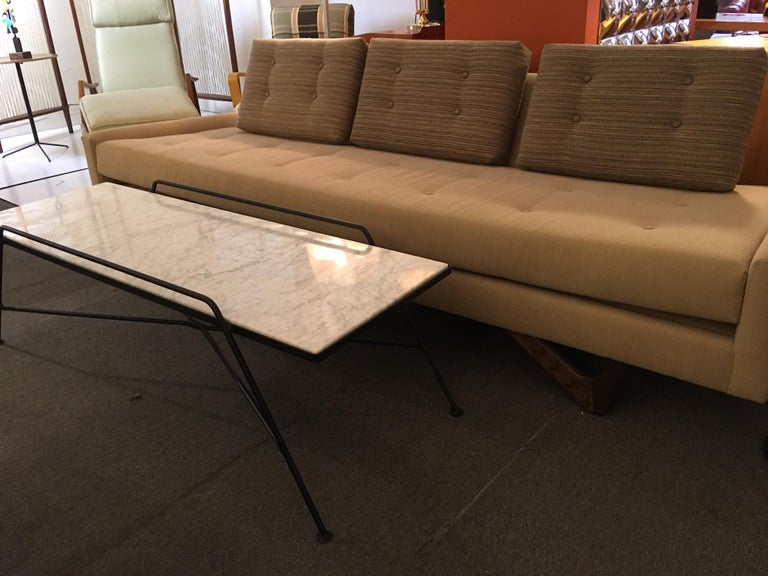 Arthur Umanoff Marble and Iron Coffee Table For Sale 2