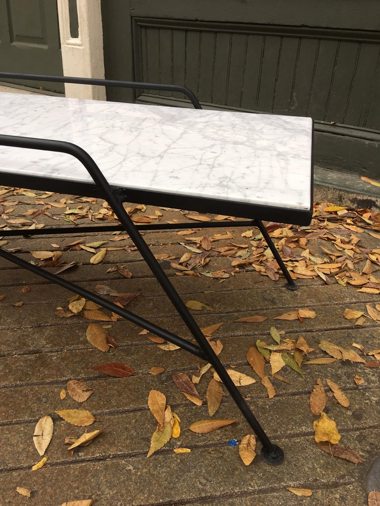 Wrought Iron Arthur Umanoff Marble and Iron Coffee Table For Sale