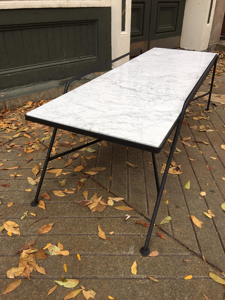 Arthur Umanoff Marble and Iron Coffee Table In Excellent Condition For Sale In Philadelphia, PA
