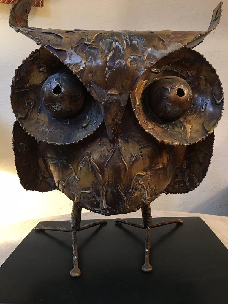 American Curtis Jere 1968 Owl on Wood Stand For Sale