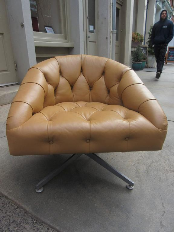 Mid Century Modern Ward Bennett Swivel Lounge Chairs By Lehigh Leopold For  Sale