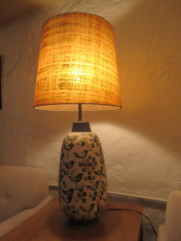 Italian Ceramic Bird Lamp With Fiberglass Shade At 1stdibs